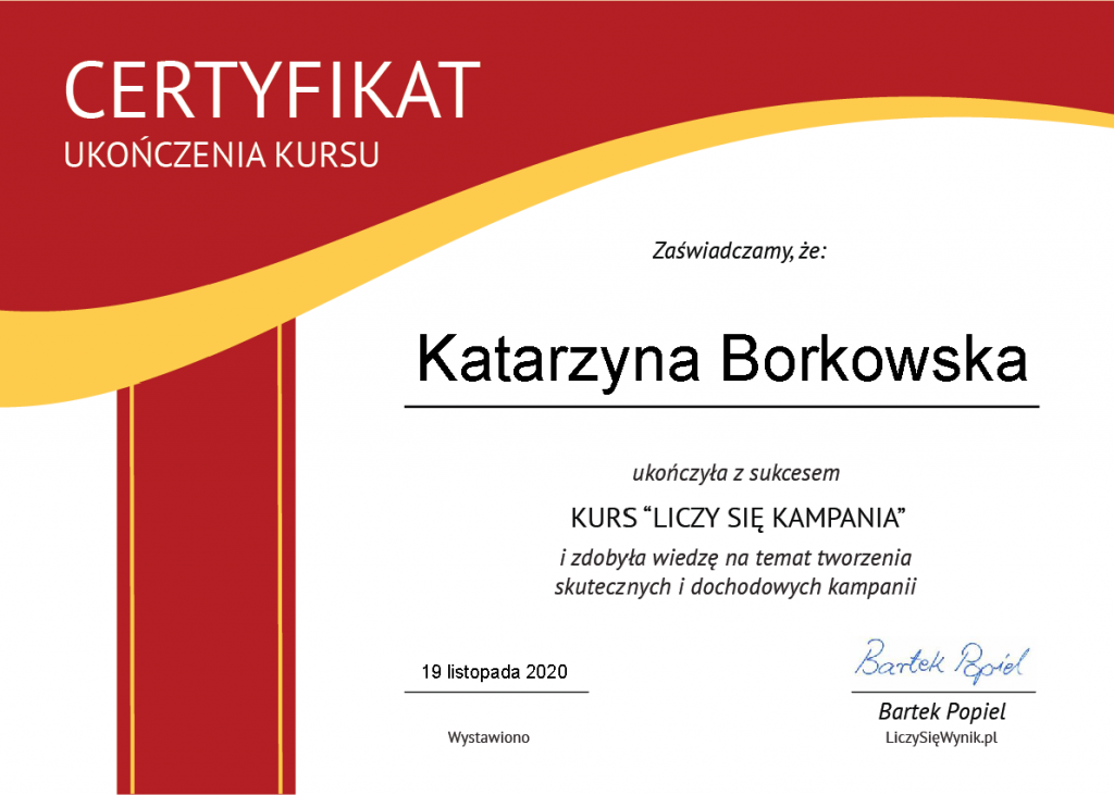 certyfikat liczy się kampania podsumowanie 2020