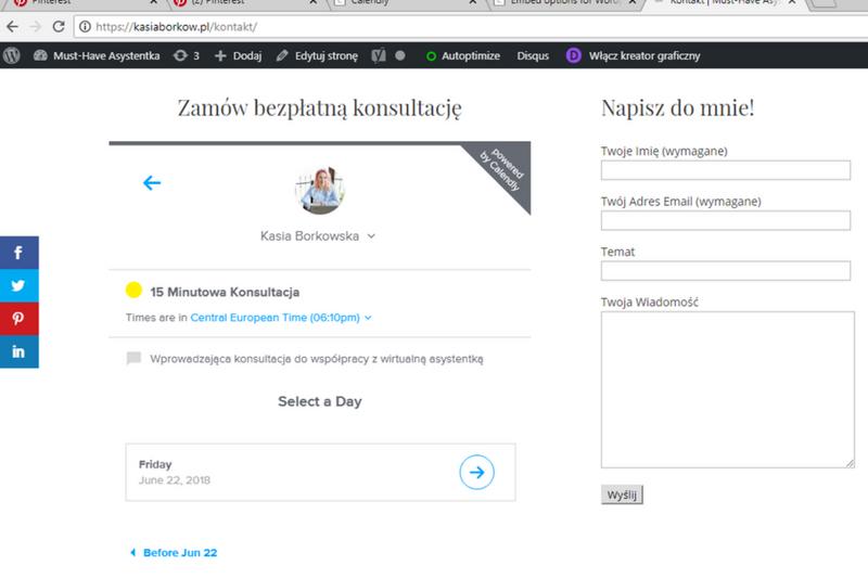Osadzanie Calendly na zewnętrznej stronie www. wirtualna asystentka kasiaborkow